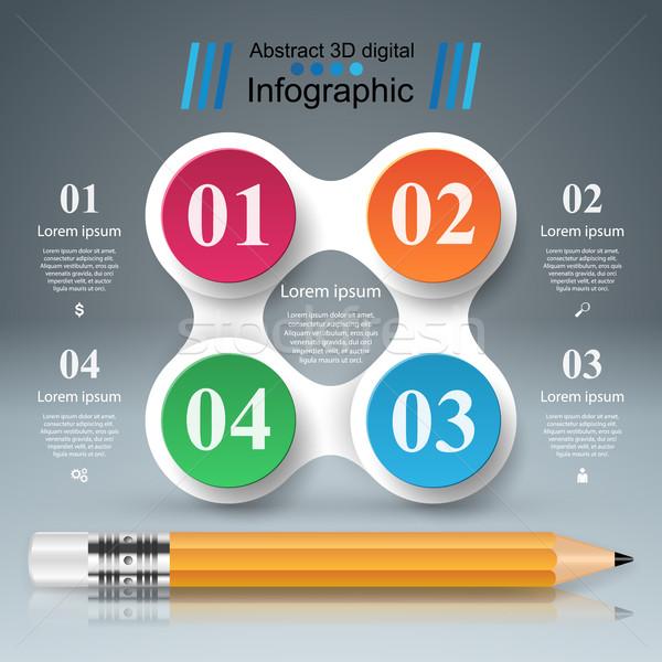 út 3D digitális illusztráció infografika toll ikon Stock fotó © rwgusev