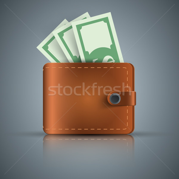 ウォレット ドル お金 現実的な アイコン ベクトル ストックフォト © rwgusev
