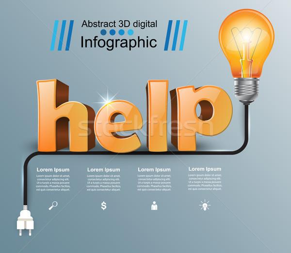 Segítség 3D üzlet infografika logo szürke Stock fotó © rwgusev