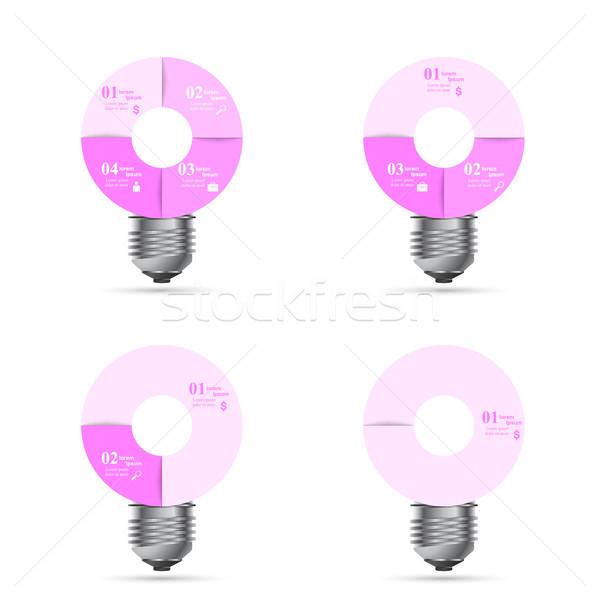 Infografía diseno bombilla luz icono plantilla de diseño Foto stock © rwgusev