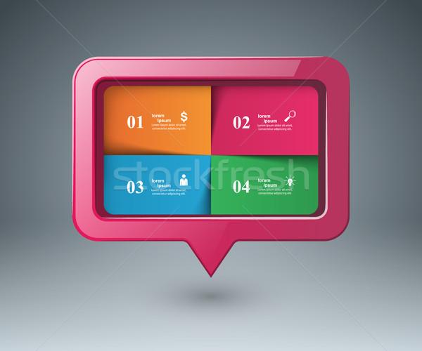 Speech bubl icon. Dialog box info. Stock photo © rwgusev