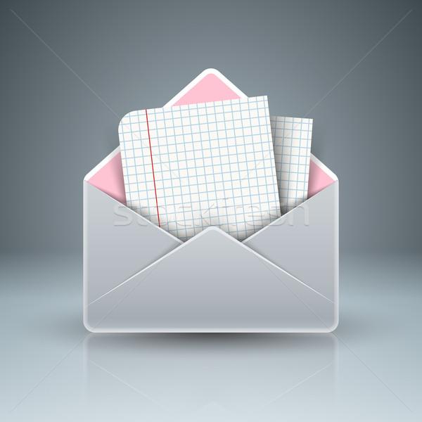 Mektup posta ikon soyut 3D şablon Stok fotoğraf © rwgusev