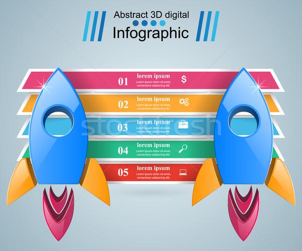 Stock fotó: Rakéta · ikon · absztrakt · illusztráció · infografika · logo