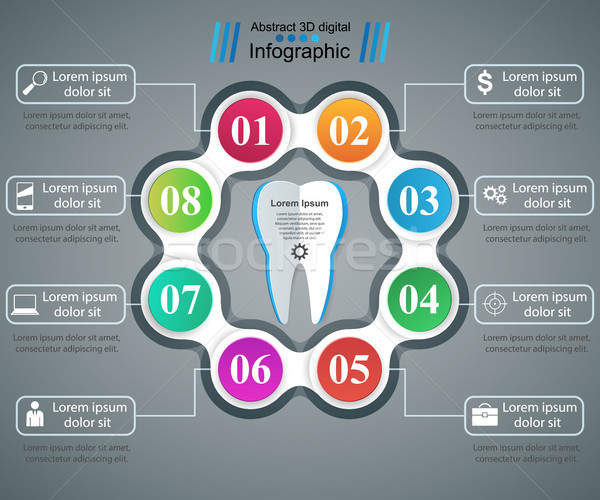 Business Infographics. Tooth icon. Stock photo © rwgusev