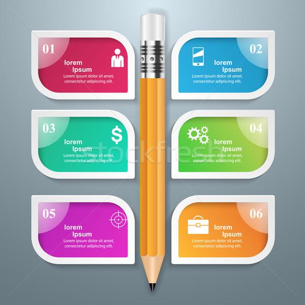 Stock fotó: üzlet · infografika · origami · stílus · toll · 3D