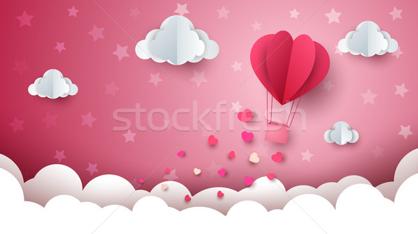 Heart, cloud, air ballon illustration. Stock photo © rwgusev