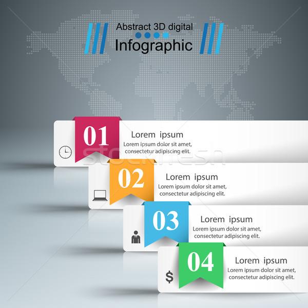Negócio infográficos origami estilo 3D Foto stock © rwgusev