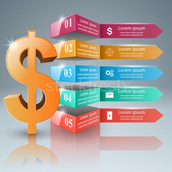 Business Infografiken Dollar Geld Symbol 3D Stock foto © rwgusev