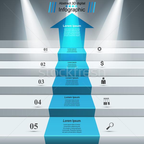 Инфографика вверх лестнице успех бизнеса лестниц Сток-фото © rwgusev