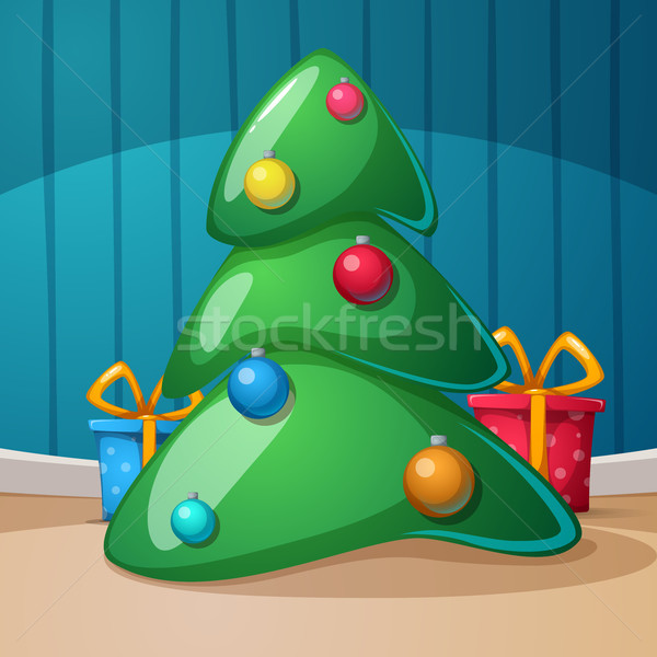 Happy new year, merry christmas. Gift, fir, rom illustration. Vector eps10. Stock photo © rwgusev