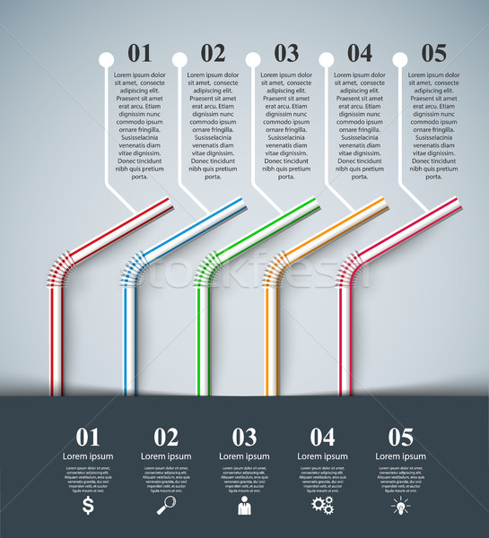 Five cocktail tube - business infographic Stock photo © rwgusev