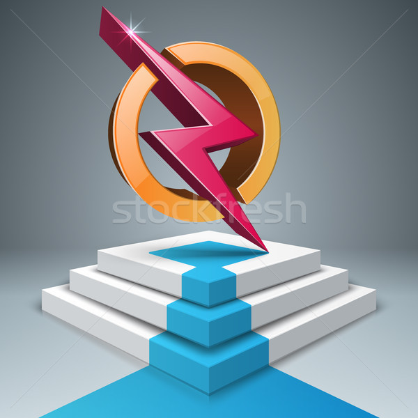 lightning, stair, pedestal, ladder icon. Stock photo © rwgusev