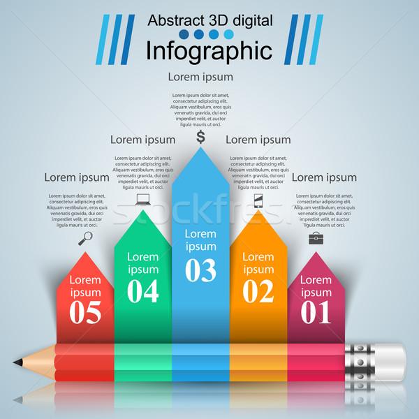 Iş infographics kalem ikon 3D Stok fotoğraf © rwgusev