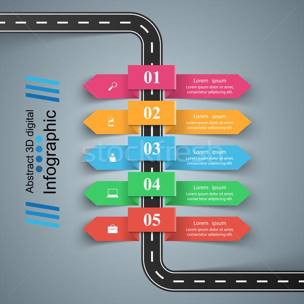 Stock fotó: út · infografika · design · sablon · marketing · ikonok · autó