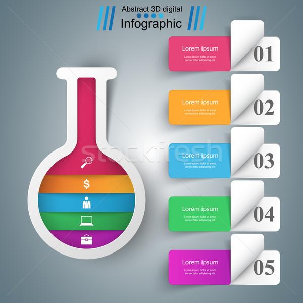 Deney tüpü iş infographics tüp soyut vektör Stok fotoğraf © rwgusev