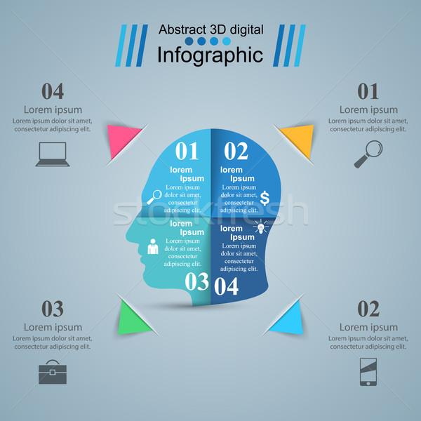 Cabeça ícone negócio infográficos logotipo abstrato Foto stock © rwgusev