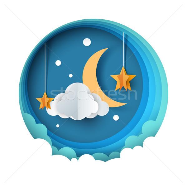 Cartoon paper night landscape. Moon, star, cloud road Stock photo © rwgusev