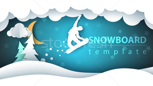 Snowboard cartoon paper landscape. Fir, moon, winter, flakes. Stock photo © rwgusev