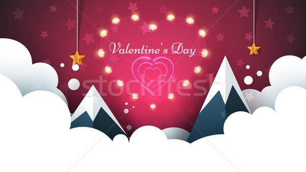 Love light illustration. Valentine s Day. Cloud, star, sky, mountain. Stock photo © rwgusev