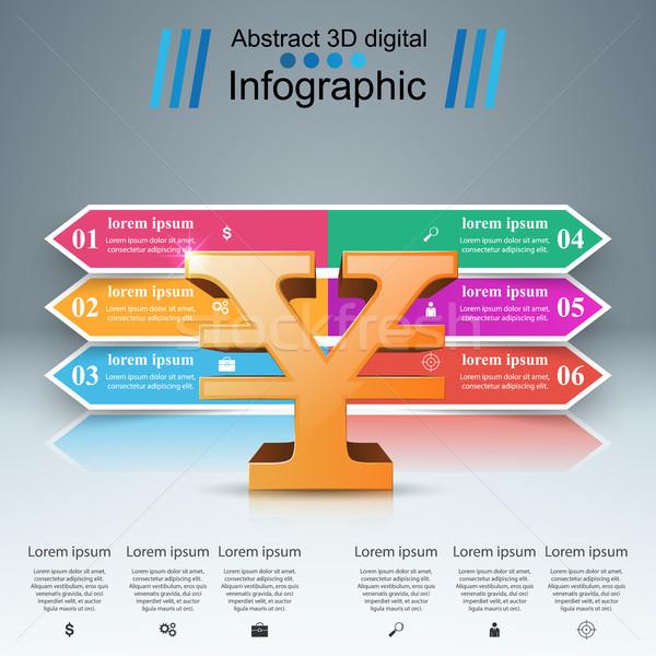3D infografía yen dinero icono plantilla de diseño Foto stock © rwgusev