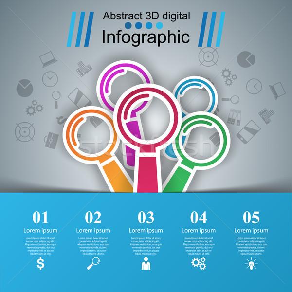 Negocios infografía lupa icono realista lupa Foto stock © rwgusev