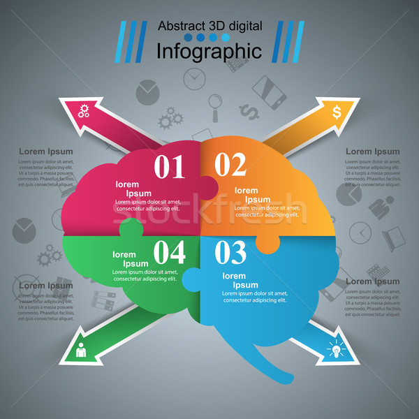 Brain infographic and business icon. Stock photo © rwgusev