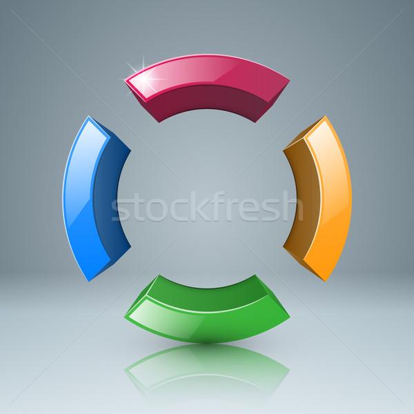 4 色 サークル アイコン 3D グレー ストックフォト © rwgusev