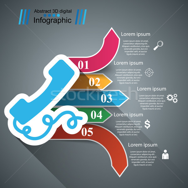 3D telefone ícone modelo de design marketing Foto stock © rwgusev