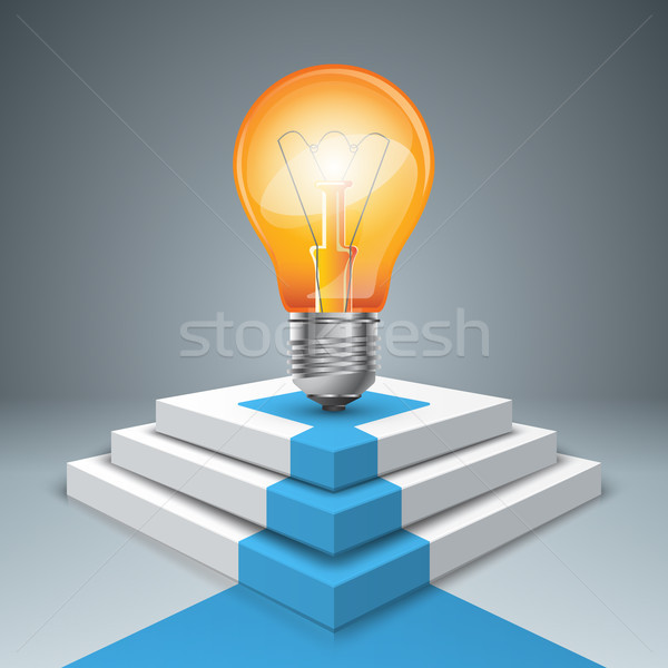 Pedestal bulb for winners - business infographic. Stock photo © rwgusev