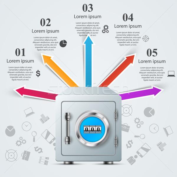 Key, lock, safe icon. Business infographic.  Stock photo © rwgusev