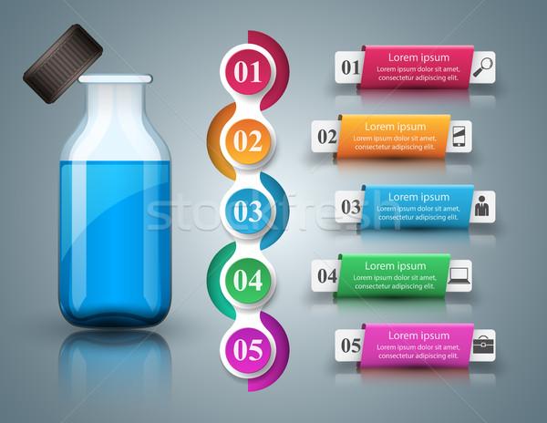 Stock fotó: üzlet · infografika · gyógyszer · üvegek · recept · ikon