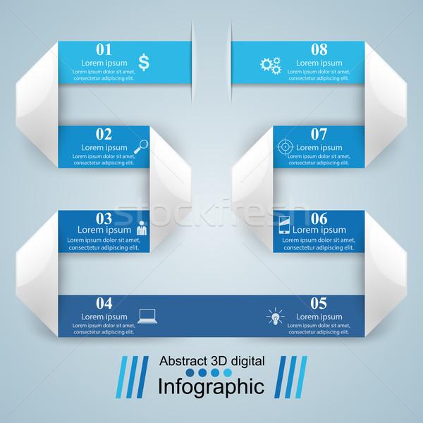 3D ontwerpsjabloon marketing iconen business Stockfoto © rwgusev
