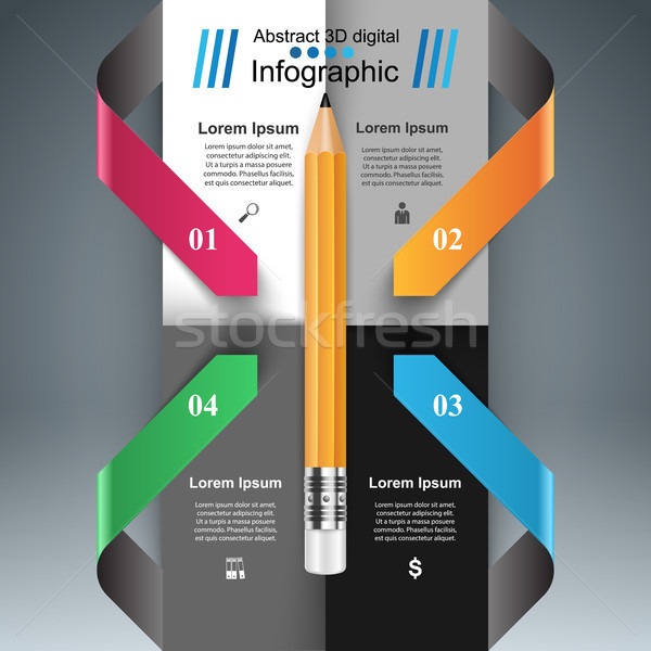 Afaceri infografica stilou icoană 3D Imagine de stoc © rwgusev