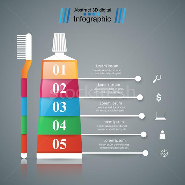 Negócio infográficos creme dental ícone origami estilo Foto stock © rwgusev