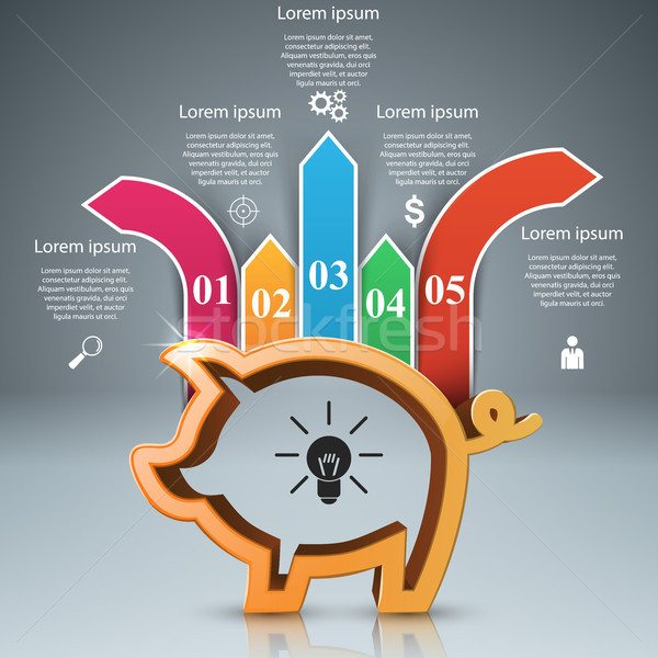 Pig coin. Bussines infographic. Marketing icon. Stock photo © rwgusev