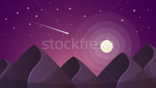 Cartoon night landscape. Comet, moon, mountains illustration. Stock photo © rwgusev