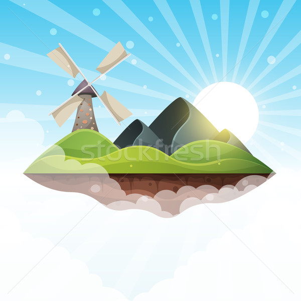 Molino isla montana sol colina ilustración Foto stock © rwgusev