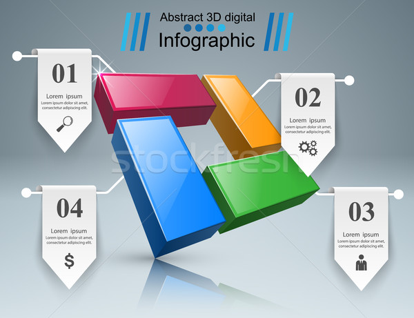 Affaires infographie origami style 3D Photo stock © rwgusev