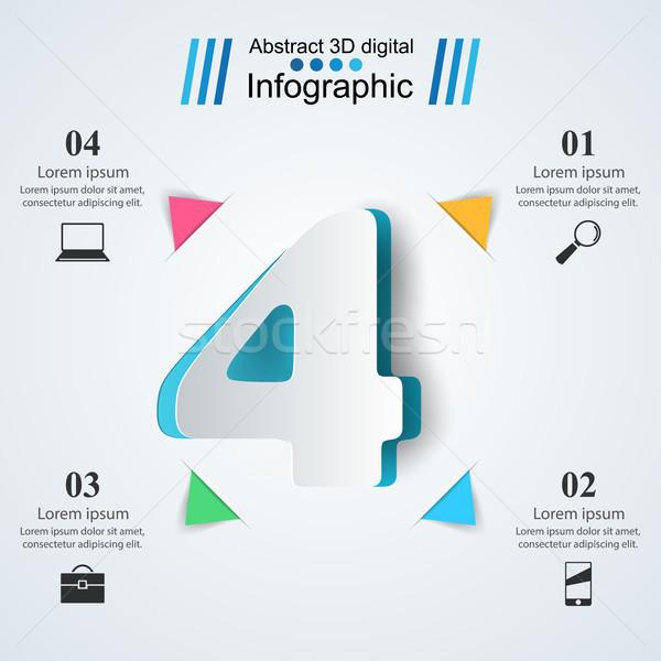 Quatro negócio infográficos origami estilo 3D Foto stock © rwgusev
