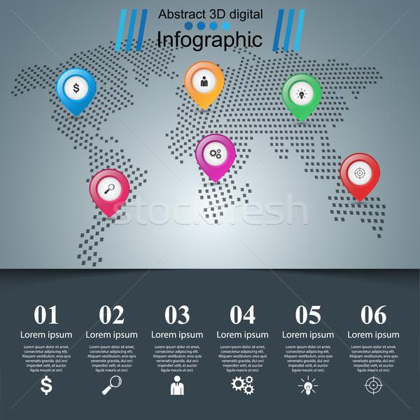 út infografika design sablon tő térképek ikonok Stock fotó © rwgusev