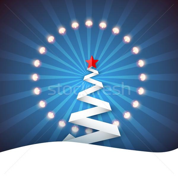 Ribbon paper fir. Snow, ray, star, light, garland. Stock photo © rwgusev