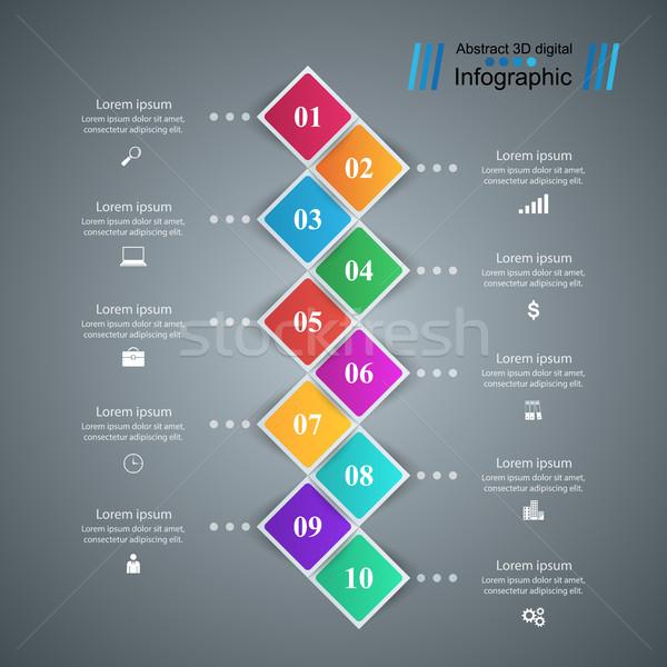 Establecer 10 negocios infografía origami estilo Foto stock © rwgusev