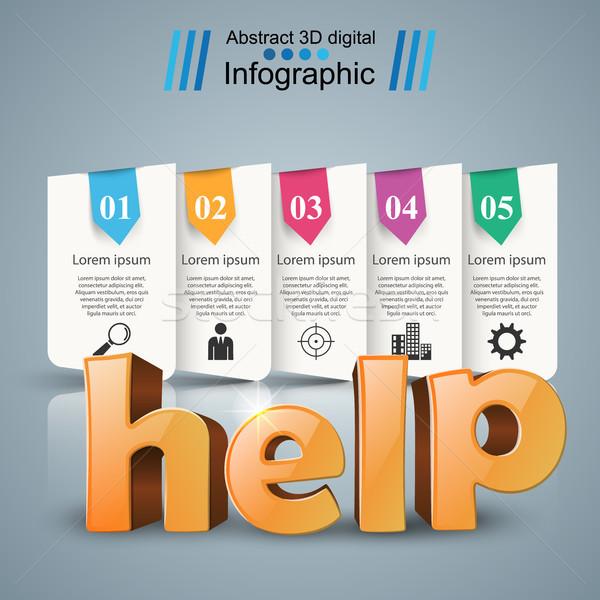 ヘルプ 3D ビジネス インフォグラフィック アイデア グレー ストックフォト © rwgusev