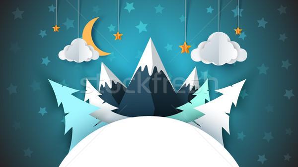 Сток-фото: зима · Cartoon · бумаги · пейзаж · веселый · Рождества