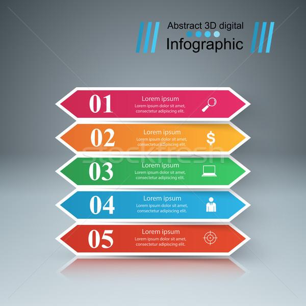 ビジネス インフォグラフィック 折り紙 スタイル 3D インフォグラフィック ストックフォト © rwgusev