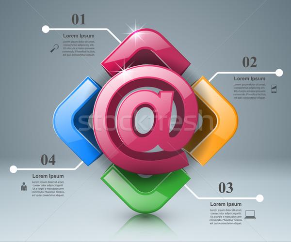 メール アイコン 抽象的な 3D インフォグラフィック ストックフォト © rwgusev