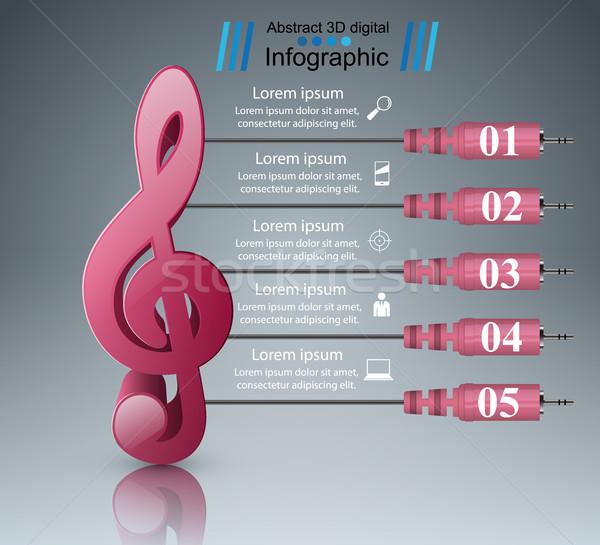 音楽 教育 インフォグラフィック 注記 アイコン 抽象的な ストックフォト © rwgusev