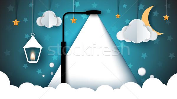 Kâğıt manzara gökyüzü lamba ampul bulut Stok fotoğraf © rwgusev