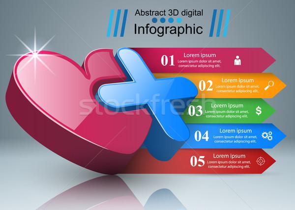 Zdrowia ikona 3D medycznych działalności Zdjęcia stock © rwgusev