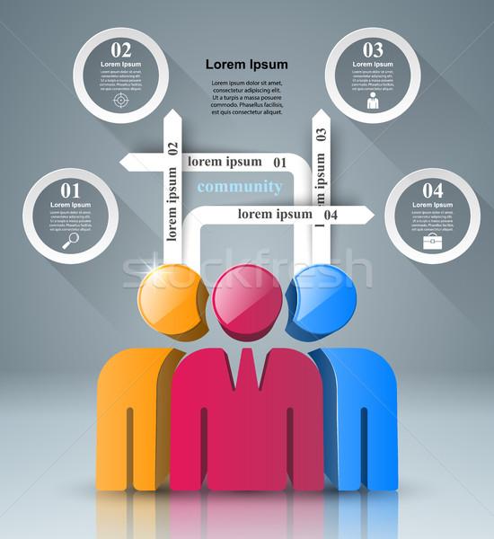 Emberek ikon üzlet infografika logo szürke Stock fotó © rwgusev